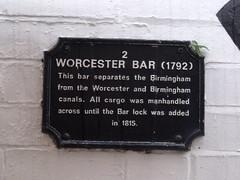 Photo of Worcester Bar black plaque