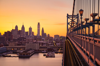Philly Bathed in Sunset from the Ben Franklin Bridge