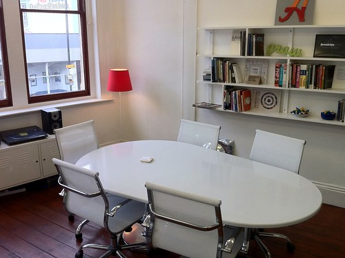 Meeting table and spot for daily guests at Mild Bunch HQ