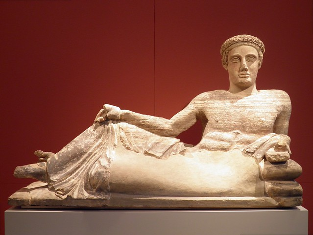Cinerary Urn: Reclining Young Man, Italia Antiqua: Etruscans and Romans (Altes Museum, Berlin)