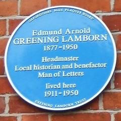 Photo of Edmund Arnold Greening Lamborn blue plaque