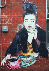 art, street art, red, painting, mural, graffiti, illustration,