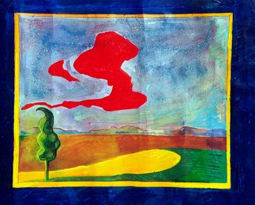 cipresso e nuvola rossa