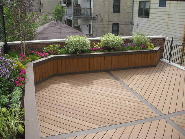 Planter box using trex custom built planter boxes by for Deck garden box designs