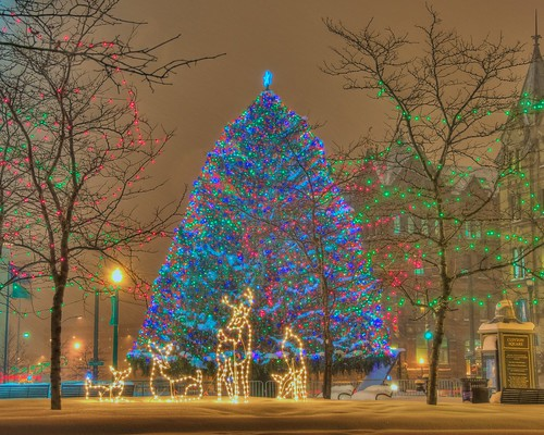 christmas decorations holiday snow newyork storm tree weather sign night reindeer lights star nikon energy downtown tripod conservation led lamppost syracuse spruce hdr 28300mm vr clintonsquare photomatix d700 yourphototips 2803000mmf3556