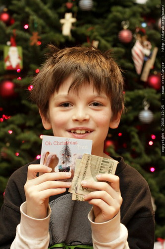 nick with a card and gift from relatives in the UK