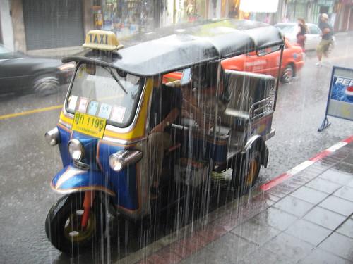 Torrential Rain hits the TukTuk! Bangkok, Thailand,