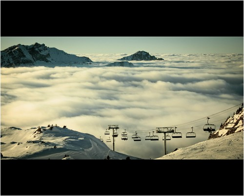 mountains alps clouds chair lift avoriaz chatel