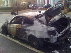 Whats left of the fire car the next morning
