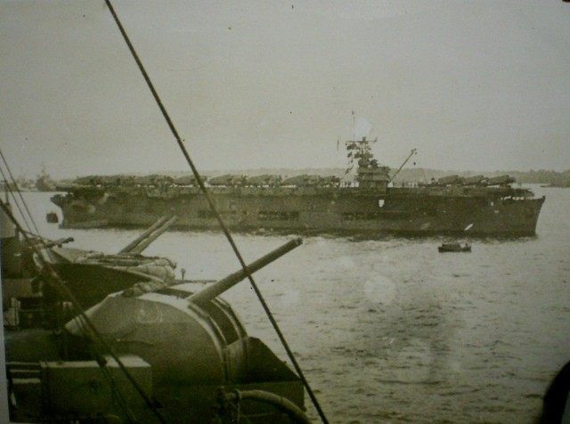 THE PACIFIC WAR: A SANGAMON Class escort carrier from HMAS SHROPSHIRE - Collection of Alan Meade, RAN 1943-1946.