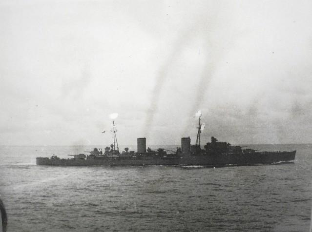 THE PACIFIC WAR: HMAS HOBART in 1945, radar censored - Collection of Alan Meade, RAN 1943-1946.