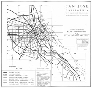 Existing and Proposed Major Thoroughfares in the City of San Jose and Vicinity (1961)
