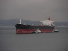Cargo ship with tugboats