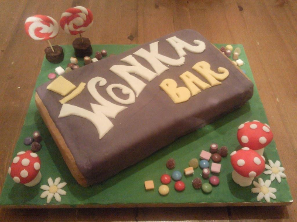 Willy Wonka Chocolate Bar Birthday Cake