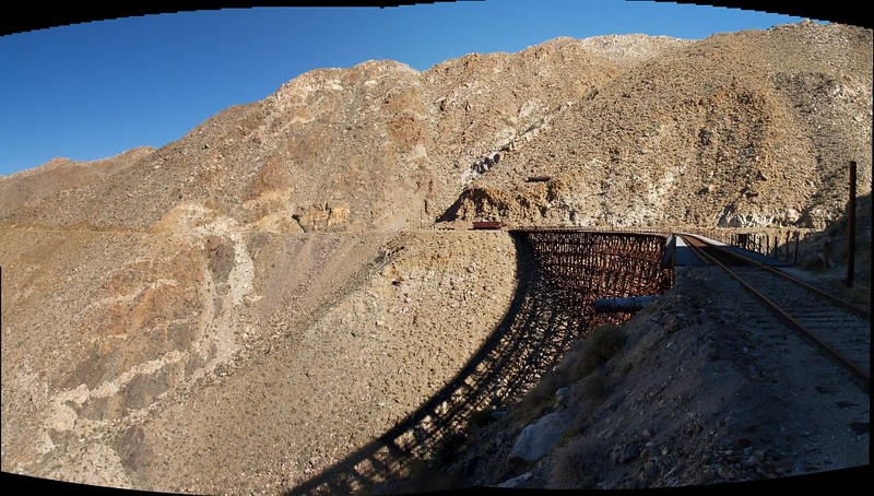 Panorama looking back at the Goat Canyon Trestle from the mouth of Tunnel 15