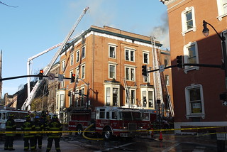 Scene of building fire at Madison & Charles Streets, Mount Vernon