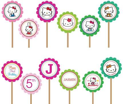 Hello Kitty Printable DIY Custom Cupcake Toppers  a photo on