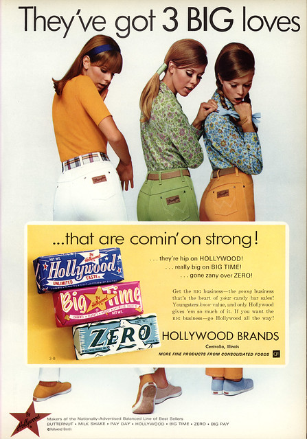 Hollywood Candy Co - Hollywood, Big Time, Zero - 3 Big Loves - Wrangler - candy trade magazine ad - National Candy Wholesaler Magazine - June 1969