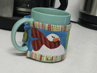 "Snowman Mug Cozy from ""I Believe"" by Nancy Halvorsen"