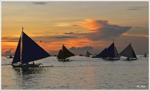 travel sunset beach scenery asia shadows boracay sailboats visayas 2010 philppines travelpictures travelphotos kkwpg