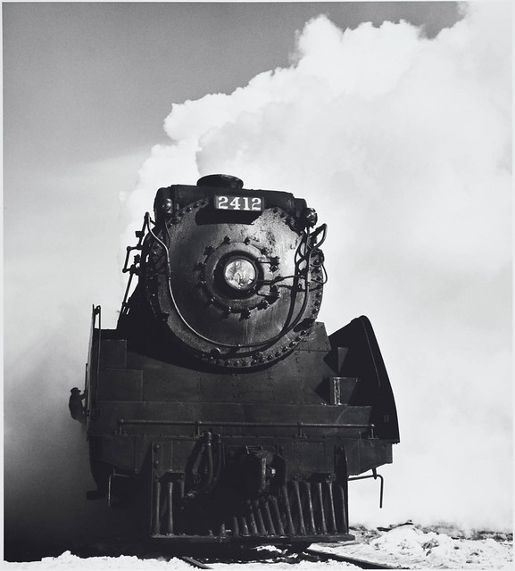 Canadian Pacific Railway, 4-6-2 type locomotive #2412, last day of operation (the Glen engine terminal), Montreal, Quebec, by David Plowden 1960