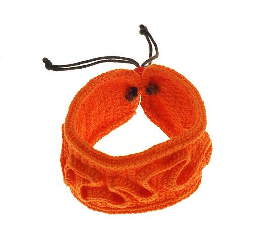 Orange crocheted bracelet