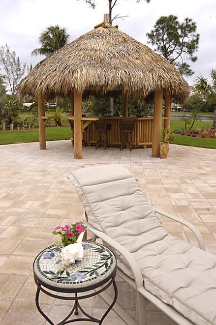 backyard with tiki hut