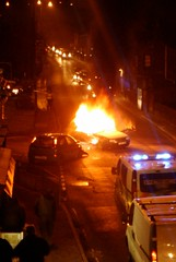 Car crash, fire, Junction of Midgeley Road and Burnley Road, Mytholmroyd.