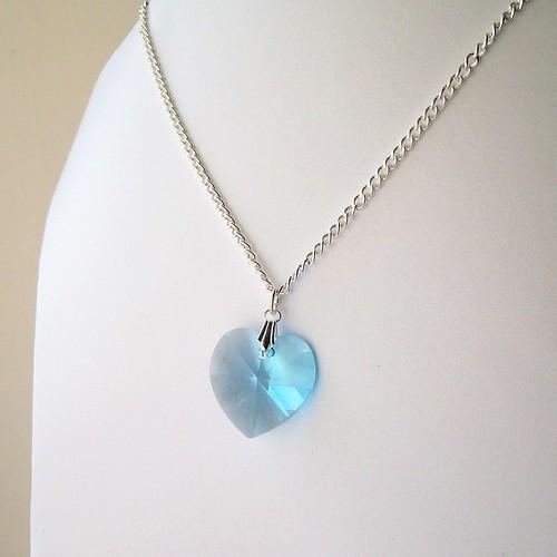 Aquamarine Swarovski Crystal Heart Necklace