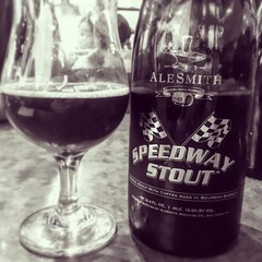 @alesmithbrewing Barrel Aged Speedway Stout. Comes in at 12% and hides it beautifully. Warm notes of oak and vanilla with the coffee chilling in the background. Delicious. #craftbeer #bourbonbarrelaged #coffeebeer