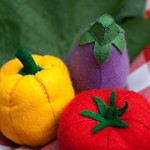 Felt Tomato, Yellow Pepper and Eggplant
