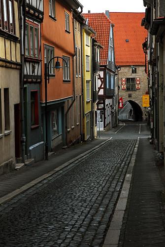 city germany deutschland thüringen stadt ddr allemagne mühlhausen stad duitsland fachwerkhaus vakwerkhuis ervanofoto