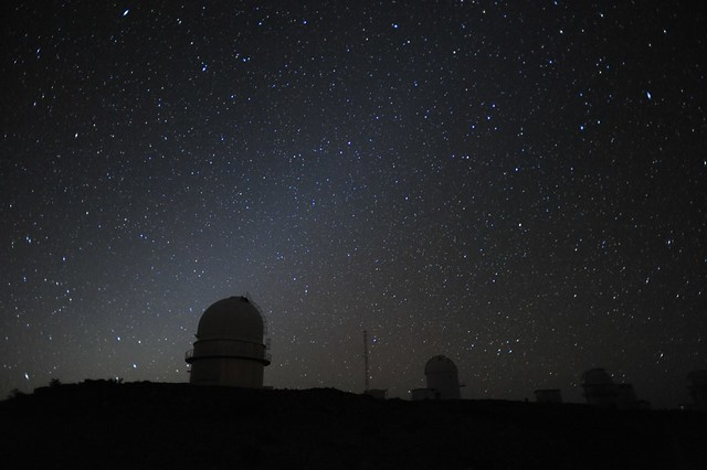 Danish 1.5m silhouetted against the zodiacal light