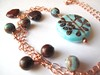 Ceramic pendant with Imperial Turquoise and Mookaite on copper chain