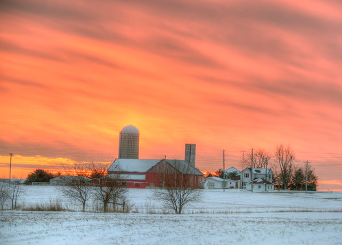 winter sunset ohio snow cold farm hdr photomatrix 7exp