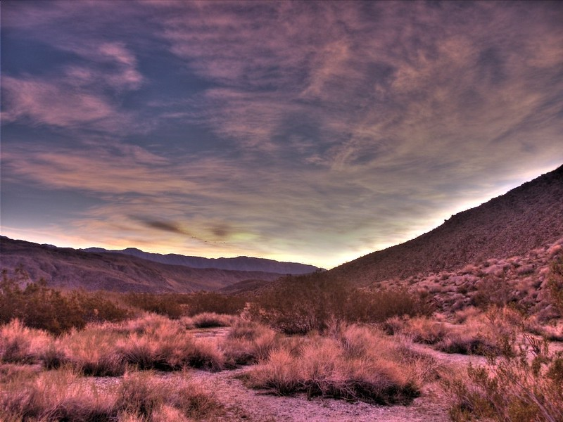 HDR shot of Sunrise in Collins Valley, with Villager and Rabbit Peaks in the far distance.