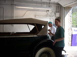 Volunteer Dick Carroll (back) with Karen Steenhoek (foreground) April 20, 2011 kls 023