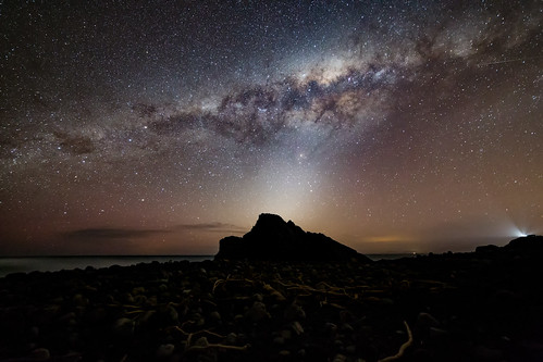 <p>A busy shot of the night sky on the south coast of Wellington near Wainuiomata. A hint of Aurora, the Milky Way, Zodiacal Light, light pollution from Wellington and Blenheim on the South Island, Baring Head Lighthouse and a Satellite!!<br /> This is a re-edit from a shoot from last year.</p>
