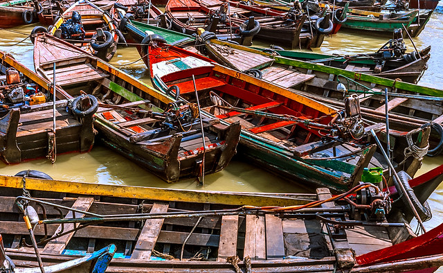 Boats in Myeik (myanmar) harbour