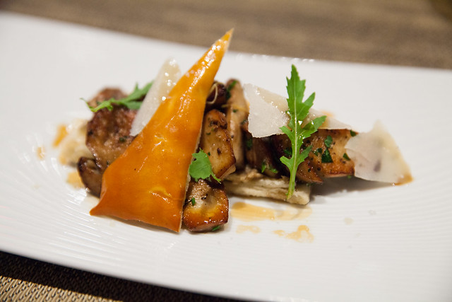 Cepes Provencal style in puff pastry, Barolo vinegar