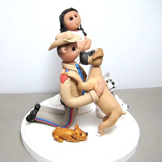 Jealous over dog Wedding Cake Topper Handmade using polymer clay