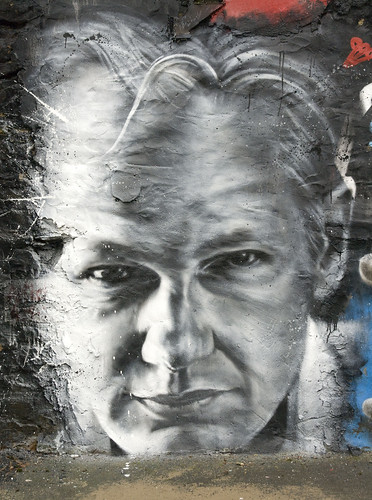 Julian ASSANGE arrested, painted portrait - Wikileaks