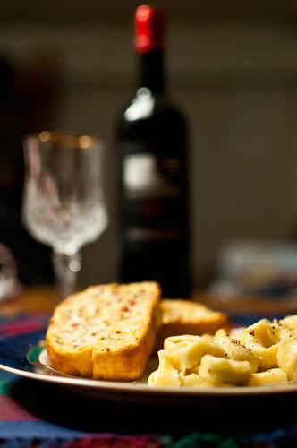 Pasta, bread, wine
