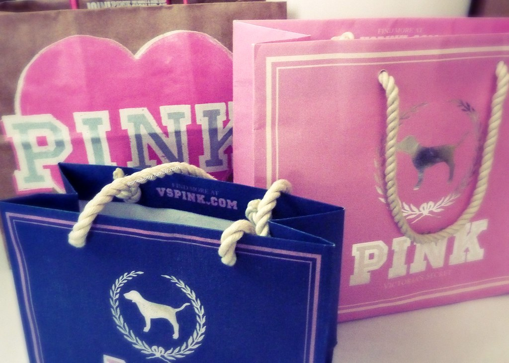 3 Victoria's Secret Pink Shopping Bags <3