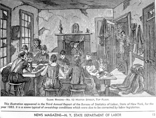 Illustration of a typical sweatshop, at 12 Hester Street, New York; appeared in a publication, 1885.