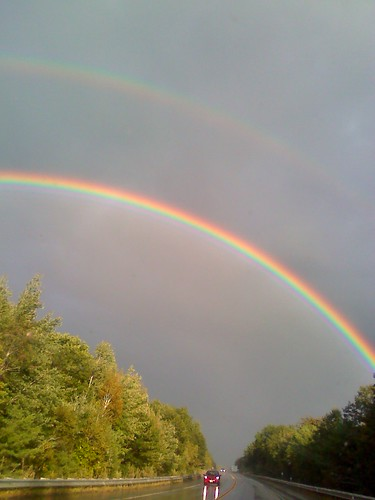 beautiful rain weather skyscape landscape rainbow sara bright newhampshire scottish games highland doublerainbow loon nhsg