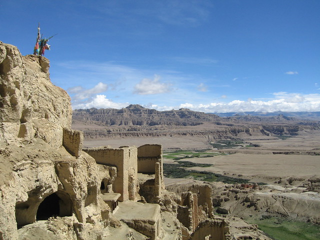 Looking out over the ruins, and east along the Sutlej river valley, from the top of Tsaparang citadel, Guge, Tibet
