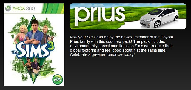 Toyota prius eco pack comes to the sims 3 for xbox 360 for Construire une maison sims 3 xbox 360