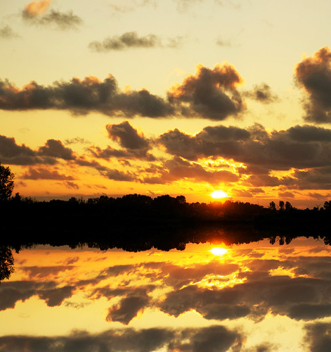 [フリー画像素材] 自然風景, 朝焼け・夕焼け, 河川・湖, 反射・鏡像 ID:201112101800