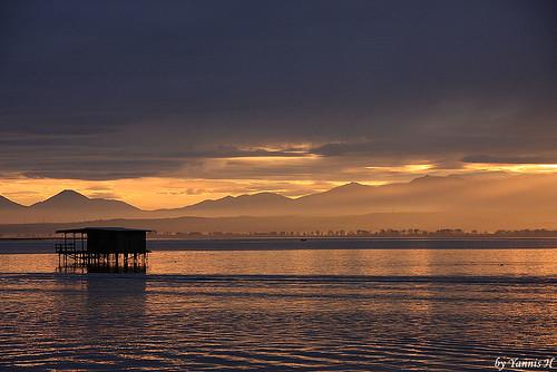 sunset sea river evening delta greece thessaloniki seahouse olympusmountain loudias oufall